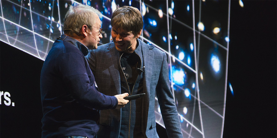 Brian Cox Live. Image shows from L to R: Robin Ince, Brian Cox.