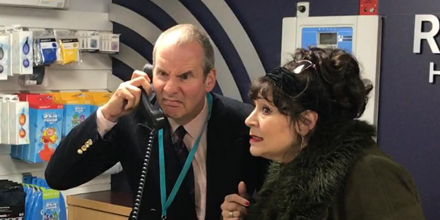 Brittas Empire reunion. Image shows from L to R: Chris Barrie, Harriet Thorpe.