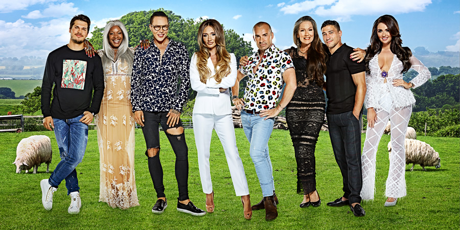Celebs On The Farm 2018. Image shows from L to R: Gleb Savchenko, Sandi Bogle, Bobby Norris, Megan McKenna, Louie Spence, Lorraine Chase, Ashley Mckenzie, Charlotte Dawson.