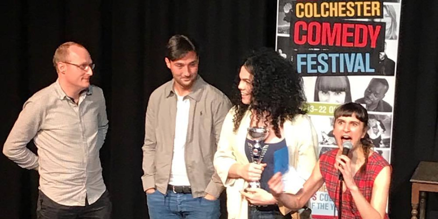 Colchester New Comedian of the Year 2017 final. Image shows from L to R: Tom Edwards, Josh James, Jordan Gray, Zahra Barri.