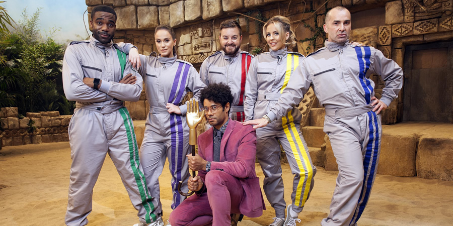 The Crystal Maze. Image shows from L to R: Ore Oduba, Vicky Pattison, Richard Ayoade, Alex Brooker, Lydia Rose Bright, Louie Spence. Copyright: Channel 4 Television Corporation.