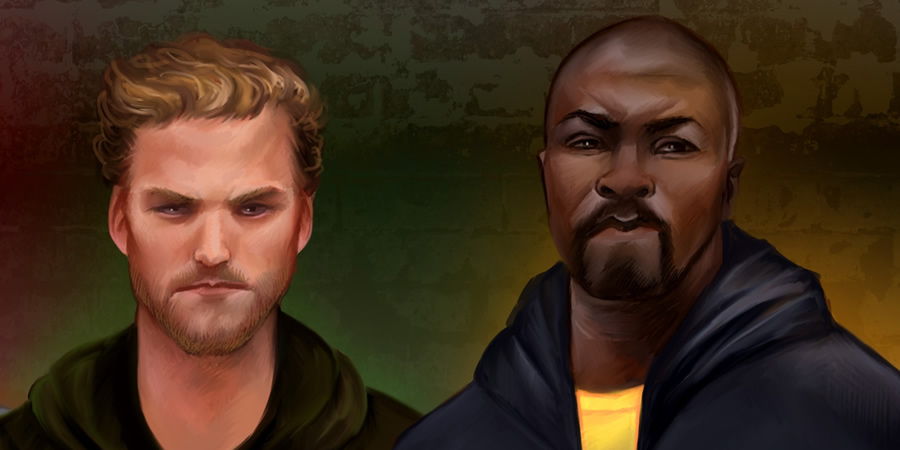 Defenders - Iron Fist and Luke Cage. Copyright: Hazelgee.