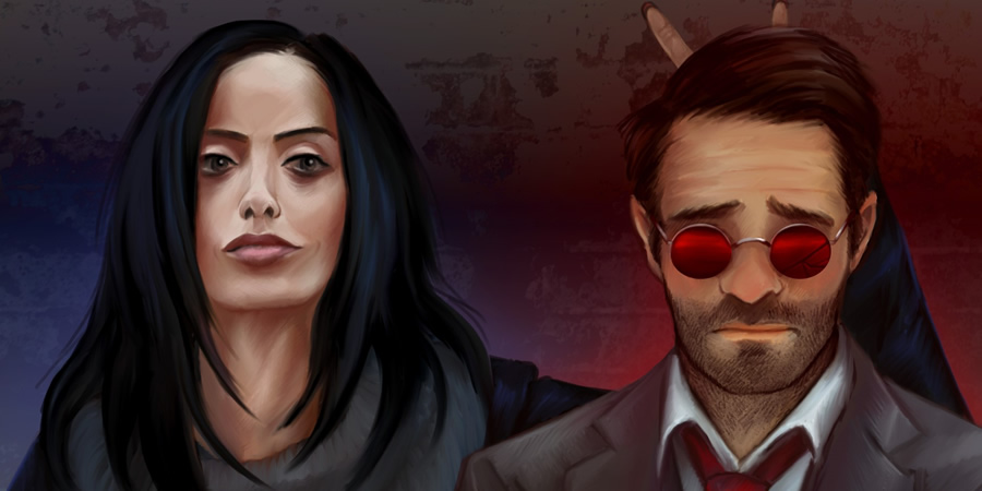 Defenders - Jessica Jones and Daredevil. Copyright: Hazelgee.