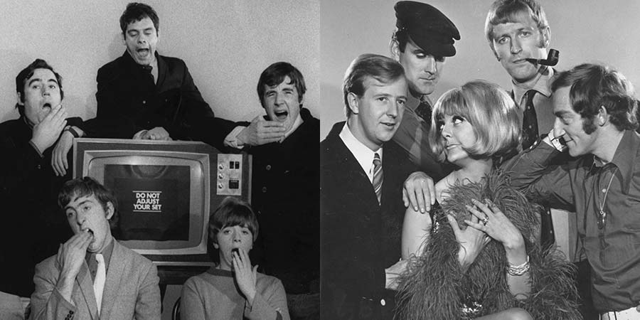 The casts of Do Not Adjust Your Set and At Last The 1948 Show. Image shows from L to R: Terry Jones, Eric Idle, David Jason, Denise Coffey, Michael Palin, Tim Brooke-Taylor, John Cleese, Aimi MacDonald, Graham Chapman, Marty Feldman. Copyright: BFI.