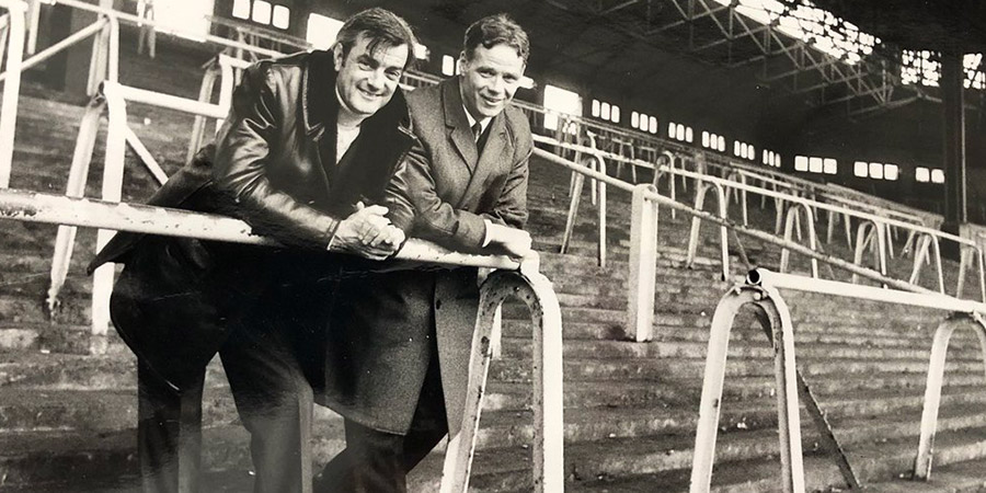 Eddie Braben and Liverpool FC's Billy Liddell in the club's stadium.