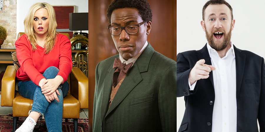 Nominees for the Edinburgh TV Festival Awards 2018: GameFace, Daniel Lawrence Taylor, Taskmaster. Image shows from L to R: Roisin Conaty, Daniel Lawrence Taylor, Alex Horne.