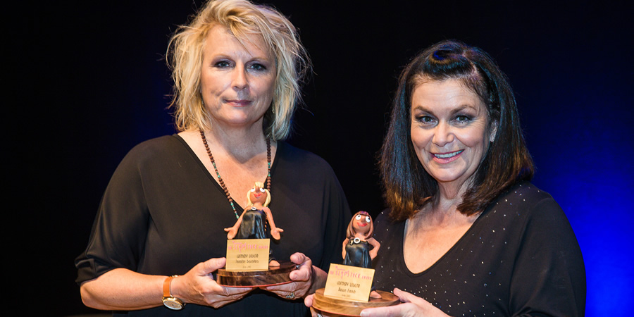 Image shows from L to R: Jennifer Saunders, Dawn French. Copyright: Slapstick Festival.