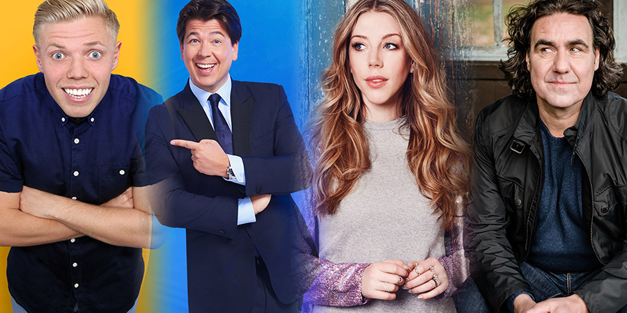 Image shows from L to R: Rob Beckett, Michael McIntyre, Katherine Ryan, Micky Flanagan.