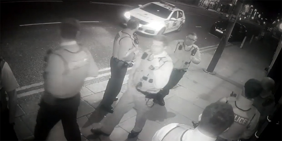 CCTV footage of police arriving at Hot Water Comedy Club.