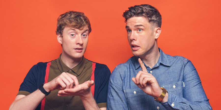 Off Menu. Image shows from L to R: James Acaster, Ed Gamble. Copyright: Paul Gilbey.