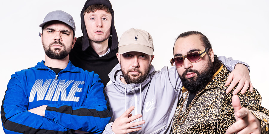 The Kurupt FM Podkast. Image shows from L to R: Allan Mustafa, Steve Stamp, Hugo Chegwin, Asim Chaudhry.
