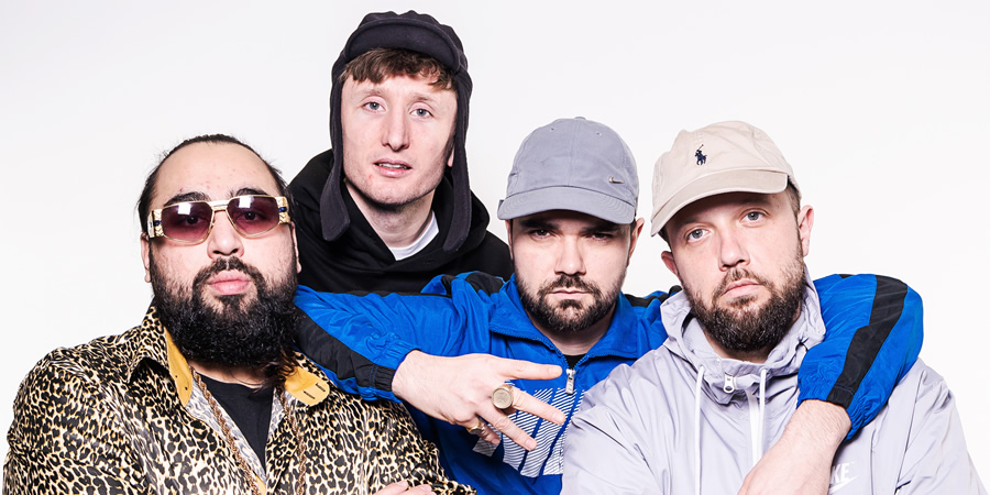 The Kurupt FM Podkast. Image shows from L to R: Asim Chaudhry, Steve Stamp, Allan Mustafa, Hugo Chegwin.