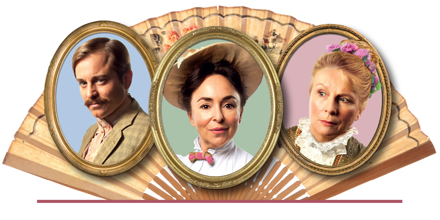 Lady Windermere's Fan. Image shows from L to R: Kevin Bishop, Samantha Spiro, Jennifer Saunders.