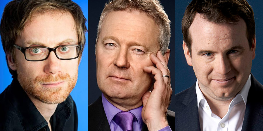 Image shows from L to R: Stephen Merchant, Rory Bremner, Matt Forde.