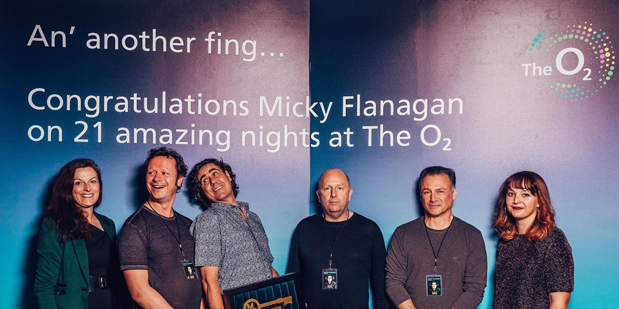Micky Flanagan awarded the keys to the O2. Picture shows from left to right: Gillian Kelly (O2 Venue Manager), Christian Knowles (Manager), Micky Flanagan, Ian Coburn (Promoter), Barry Jepson (Tour Manager), Zoe Swindells (O2 Programming Manager). Copyright: Luke Dyson.