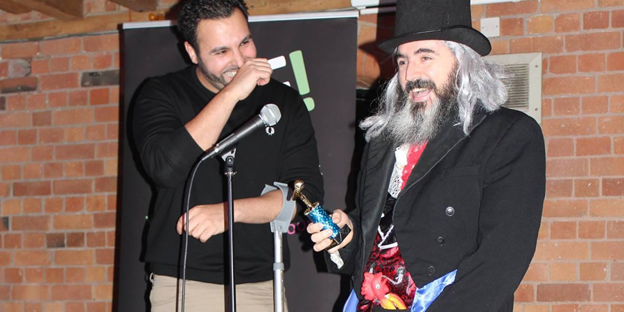 Count Evil - Midlands Comedy Awards. Image shows from L to R: Moses Ali Khan, Paul Palmer. Copyright: Pete Prodge.