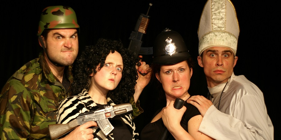NewsRevue 2007. Image shows from L to R: Will Kenning, Pippa Evans, Emily Murphy, Ben Watson.