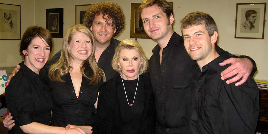 Image shows from L to R: Katie Cotterell, Helen Colby, Pete Smith, Joan Rivers, Will Allen, Nick Afkar.
