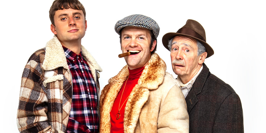 Only Fools And Horses - The Musical. Image shows from L to R: Ryan Hutton, Tom Bennett, Paul Whitehouse.