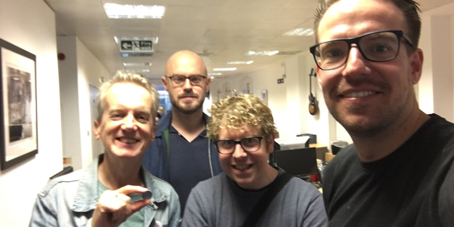 Quickly Kevin. Image shows from L to R: Frank Skinner, Unknown, Josh Widdicombe, Chris Scull.