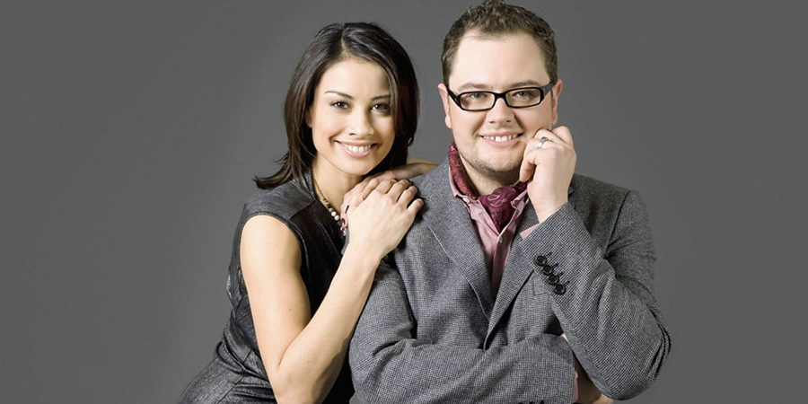 Image shows from L to R: Melanie Sykes, Alan Carr. Copyright: BBC.
