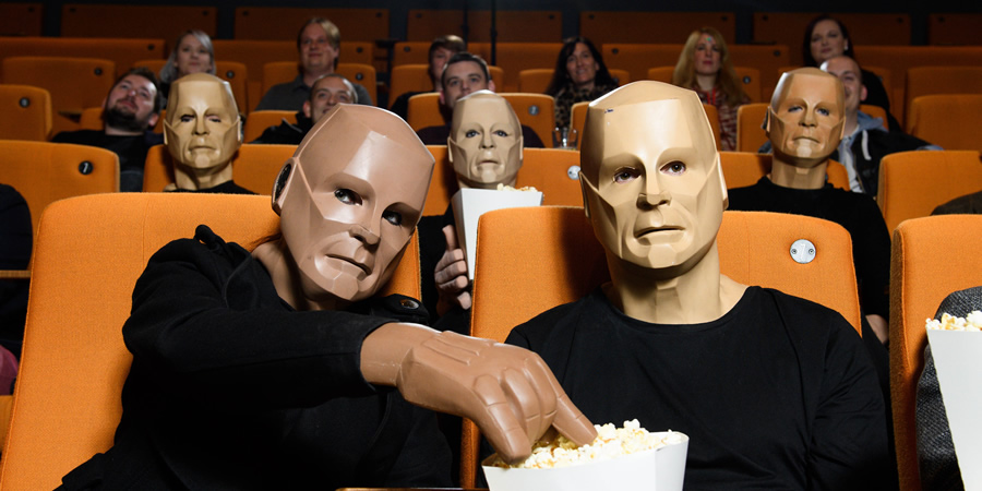 Red Dwarf fans dressed as the character Kryten make their way to a special screening in London. Copyright: Joe Pepler / PinPep.