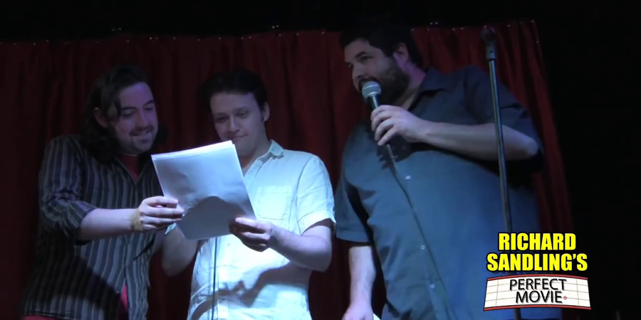 Richard Sandling's Perfect Movie. Image shows from L to R: Nick Helm, Nathaniel Metcalfe, Richard Sandling.