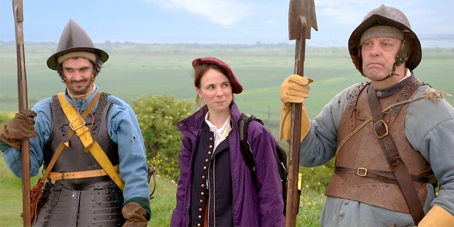 Roundheads And Cavaliers. Image shows from L to R: Alex Carter, Cariad Lloyd, David Schaal.