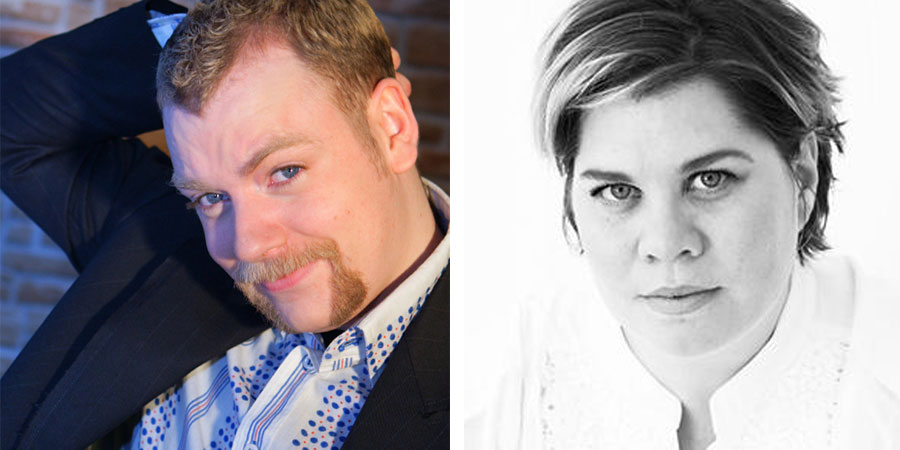 Image shows from L to R: Rufus Hound, Katy Brand.