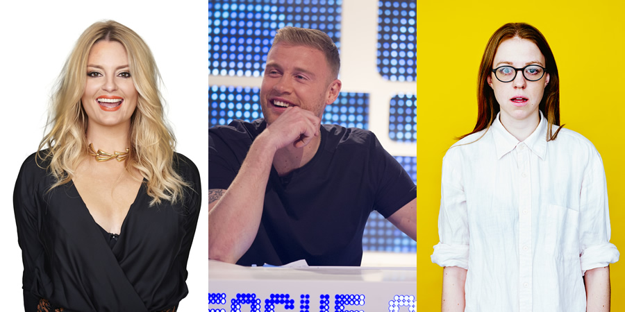 Image shows from L to R: Morgana Robinson, Andrew Flintoff, Ellie White.