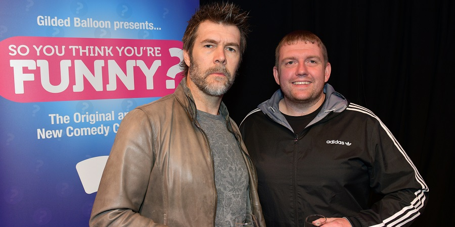 So You Think You're Funny? 2018. Image shows from L to R: Rhod Gilbert, Danny Garnell. Copyright: Steve Ullathorne.
