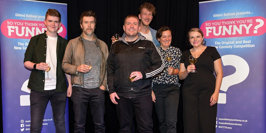 So You Think You're Funny? 2018. Image shows from L to R: Liam Farrelly, Rhod Gilbert, Danny Garnell, Joe Hobbs, Zoe Lyons, Bec Melrose. Copyright: Steve Ullathorne.