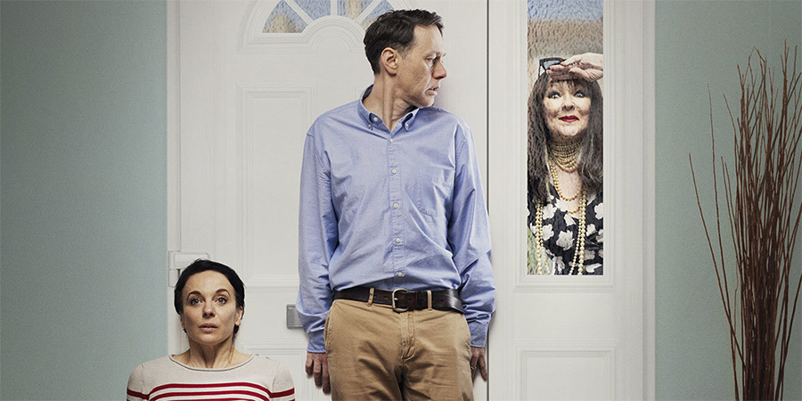 The Unfriend. Image shows from L to R: Amanda Abbington, Reece Shearsmith, Frances Barber.