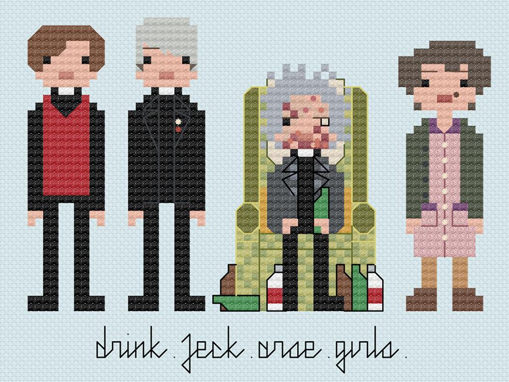 Father Ted cross stitch.  Copyright: 8bitnorthxstitch.