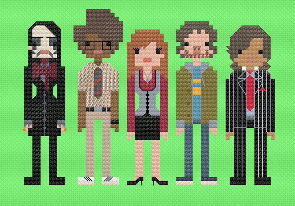 The IT Crowd cross stitch.  Copyright: 8bitnorthxstitch.