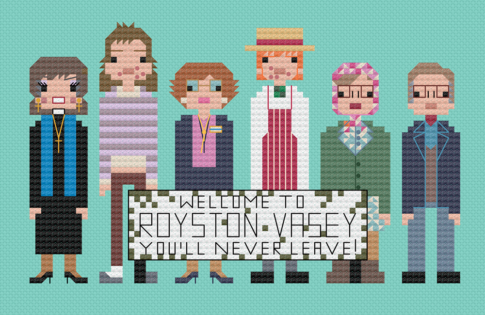 The cross stitch of the League of Gentlemen.  Copyright: 8bitnorthxstitch.