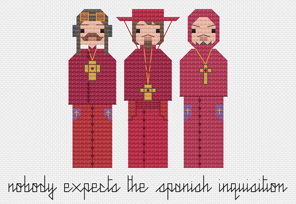 Monty Python cross stitch Spanish Inquisition.  Copyright: 8bitnorthxstitch.