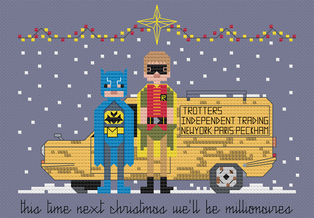 Only fools and horses in festive cross stitch.  Copyright: 8bitnorthxstitch.