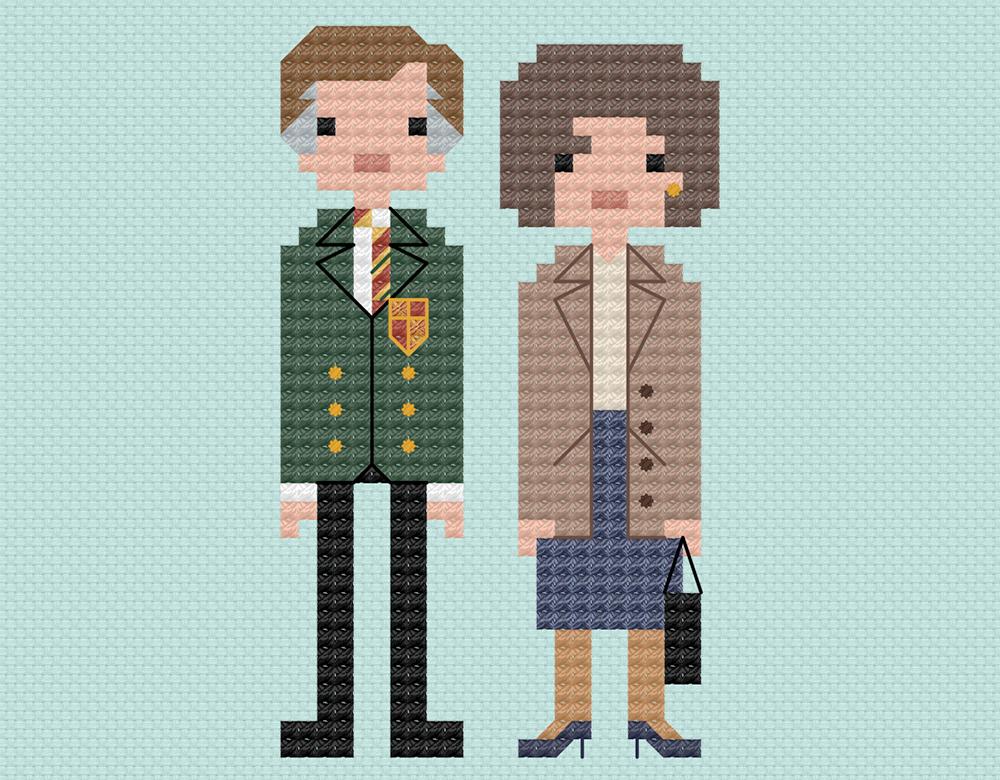 Alan Partridge cross stitch.  Copyright: 8bitnorthxstitch.