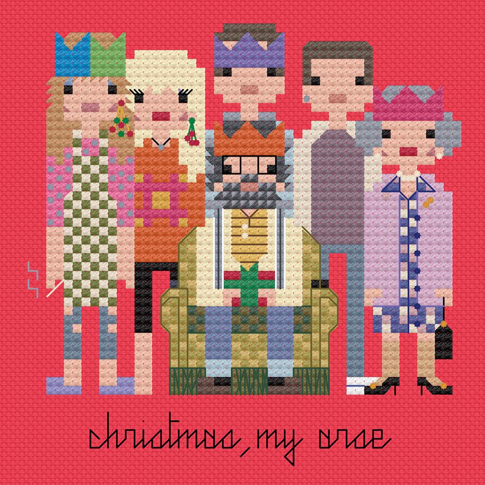 The Royle family's festive cross stitch.  Copyright: 8bitnorthxstitch.