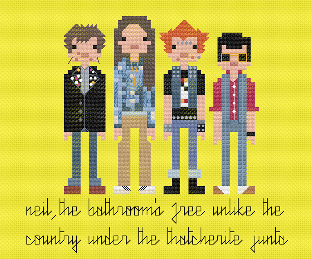 Young people in cross stitch.  Copyright: 8bitnorthxstitch.
