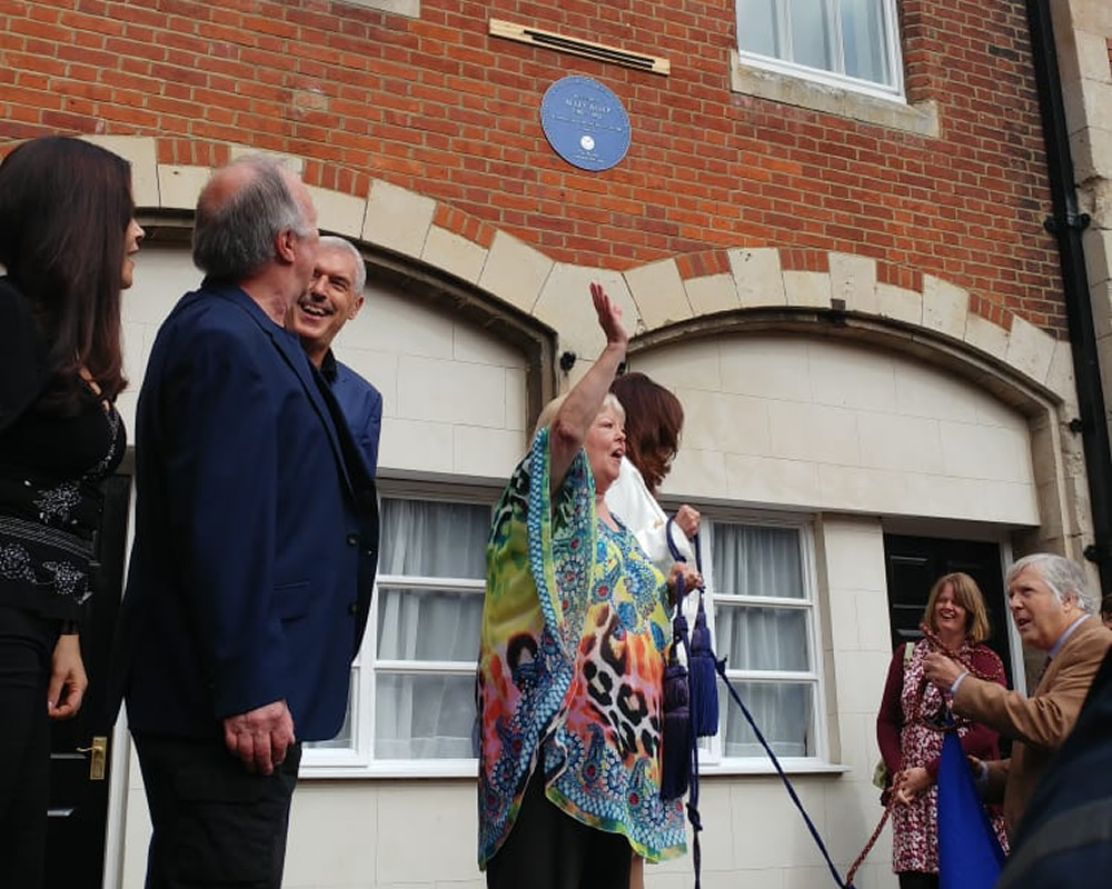 'Allo 'Allo! blue plaque unveiling. Image shows from L to R: Francesca Gonshaw, Guy Siner, Arthur Bostrom, Sue Hodge.