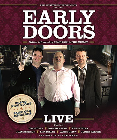 Early Doors. Image shows from L to R: Joe (Craig Cash), Ken (John Henshaw), Duffy (Phil Mealey). Copyright: Phil McIntyre Entertainment.