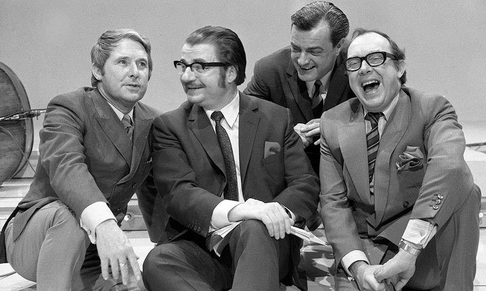 17/02/1970. Image shows from L to R: Eric Morecambe, Eddie Braben, John Ammonds, Ernie Wise. Copyright: BBC.