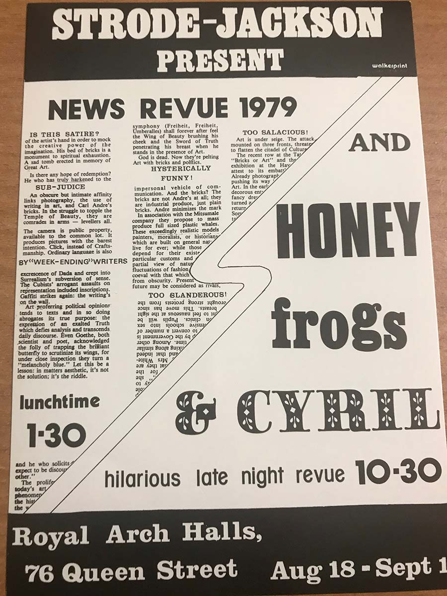 NewsRevue's first flyer, from 1979.