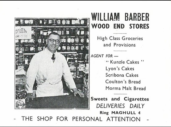 Promotional panel for William Barber's Wood End Stores.