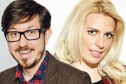 Image shows from L to R: Matthew Crosby, Sara Pascoe.