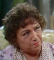 Nearest And Dearest. Nellie Pledge (Hylda Baker). Image credit: Granada Television.