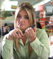 Trollied. Linda (Faye McKeever). Image credit: Roughcut Television.