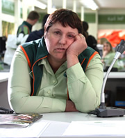 Trollied. Sue (Lorraine Cheshire). Copyright: Roughcut Television.